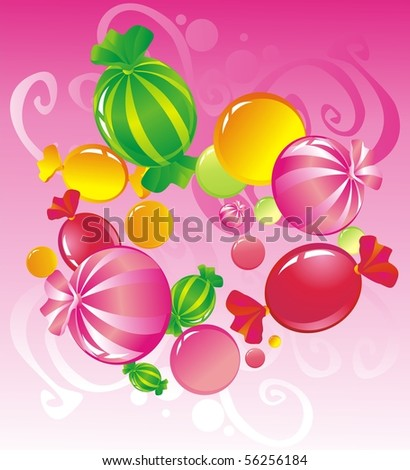 All-sorts from sweets on a pink background - stock photo