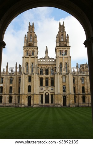 All Souls College, famous University College in Oxford, Oxfordshire, England - stock photo