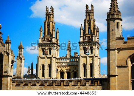 All Souls College Towers, Oxford University - stock photo