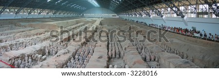 All the terracotta warriors army - Zian - China - Panorama.