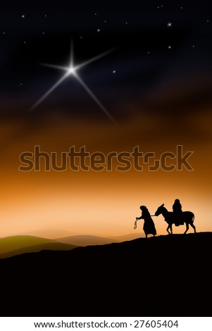 All the way from Nazareth to Bethlehem - stock photo