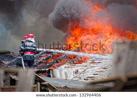 All types of firefighter equipment during the mission - stock photo