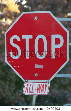All-way (4 way) stop sign.  Canada.