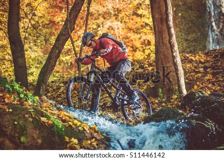 All Year Long Active Mountain Biker. Fall Foliage Landscape. Bike Ride.