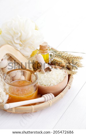 all you need to have great bath - beauty treatment - stock photo