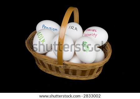 all your retirement eggs in one basket - stock photo