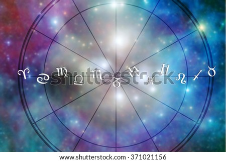 all zodiac signs aligned with an astrological chart - stock photo