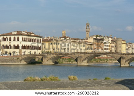 Alla Carraia bridge in Florence, Italy - stock photo
