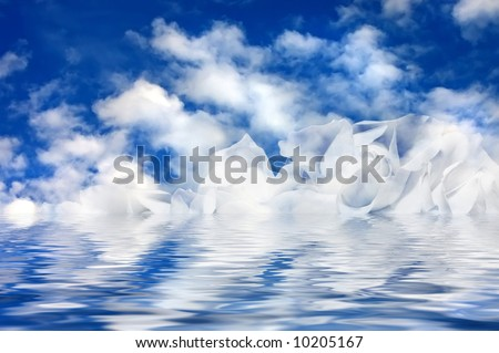 Allegorical clouds in the form of white roses
