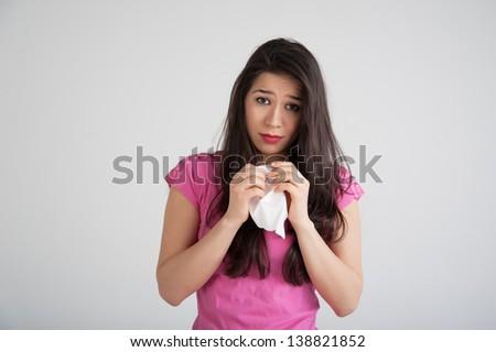 allergies, the common cold, flu-woman sneezes. - stock photo