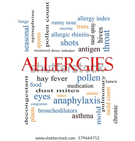 Allergies Word Cloud Concept with great terms such as food, pollen, mold and more. - stock photo