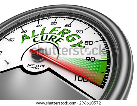 Allergy cure conceptual meter indicate maximum, isolated on white background - stock photo