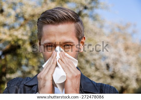 Allergy, Man, Spring - stock photo