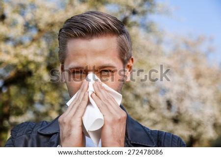 Allergy, Man, Spring - stock photo