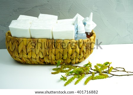 Allergy relief concept, seasonal allergens - birsh pollen, medication and paper tissues, copy space - stock photo