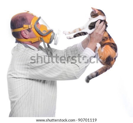 Allergy to animal fur concept. Man in respirator holding his cat. - stock photo