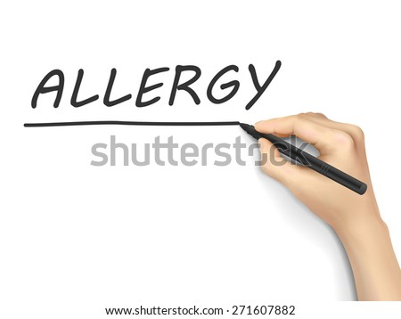 allergy word written by hand on white background - stock photo