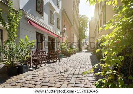 Alley at Spittelberg - Old town, Vienna, Austria - stock photo