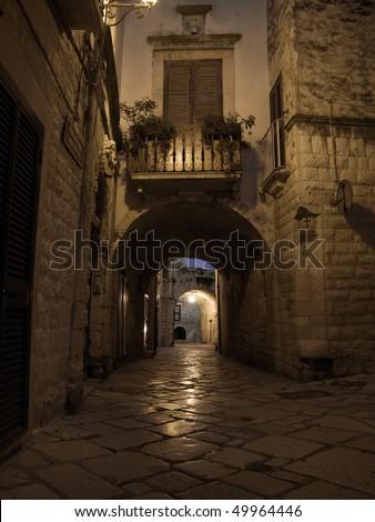 Alley by night. Giovinazzo. Apulia. - stock photo