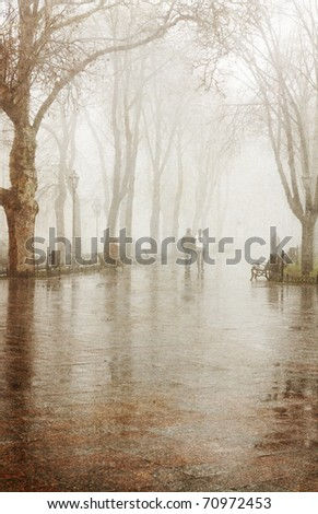 Alley in fog. Photo in vintage image style. - stock photo