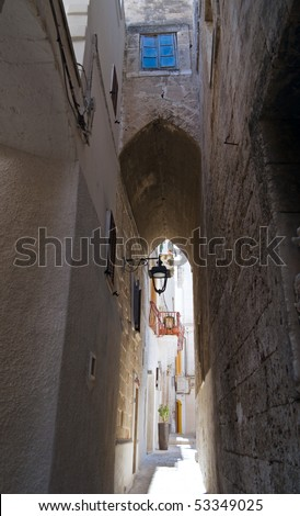 Alley in Monopoli Oldtown. Apulia. - stock photo