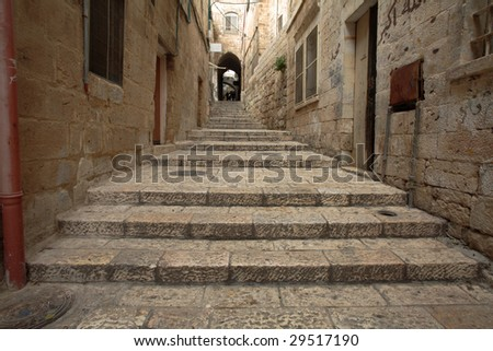 Alley in Old Jerusalem - stock photo
