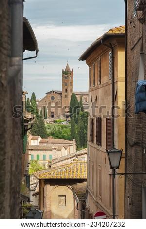 Alley in Siena, Tuscany, Italy  - stock photo