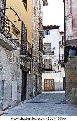 Alley in the city of Graus, Spain - stock photo
