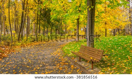 Alley with benches among the trees in autumn park - stock photo