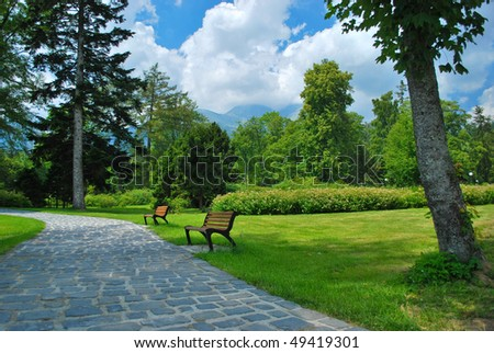 alley with benches in park - stock photo