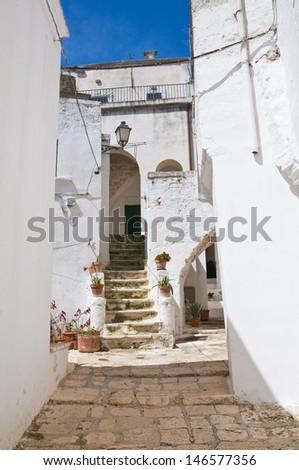 Alleyway. Ceglie Messapica. Puglia. Italy.  - stock photo