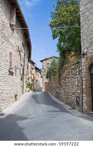 Alleyway. Corciano. Umbria. - stock photo