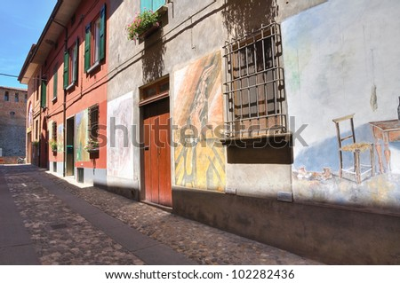 Alleyway. Dozza. Emilia-Romagna. Italy. - stock photo