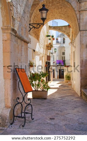 Alleyway. Locorotondo. Puglia. Italy.  - stock photo