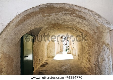 Alleyway. Vieste. Puglia. Italy. - stock photo