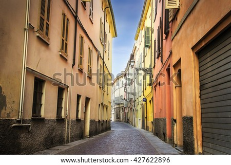 Alleyway with old architecture in Parma, Emilia Romagna province, Italy.  - stock photo