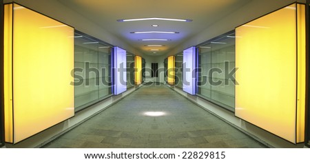 alleyway with square orange lights - stock photo