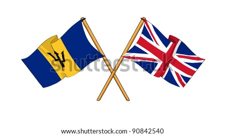 Alliance and friendship between Barbados and United Kingdom - stock photo