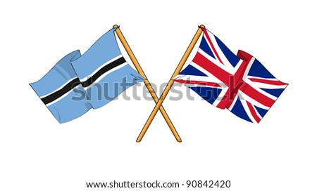 Alliance and friendship between Botswana and United Kingdom - stock photo