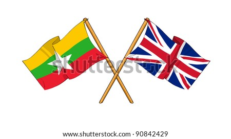 Alliance and friendship between Burma and United Kingdom - stock photo
