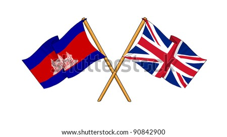 Alliance and friendship between Cambodia and United Kingdom - stock photo