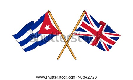 Alliance and friendship between Cuba and United Kingdom - stock photo