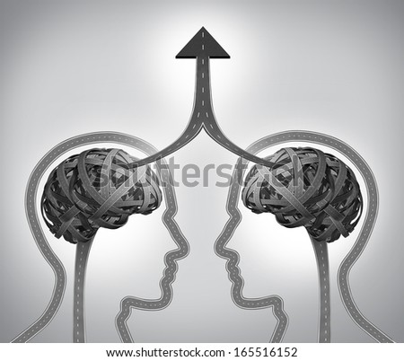 Alliance success business concept as a group of roads and streets shaped as two human heads with a tangled brain merging as an upward arrow through team management in collaboration and partnership. - stock photo