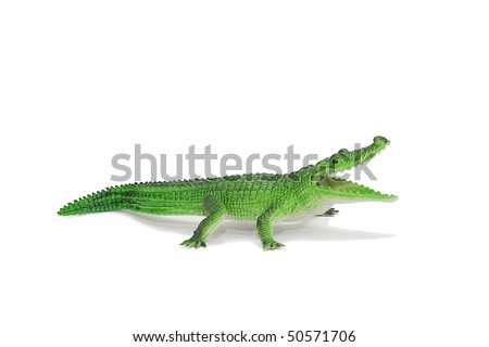 Alligator, green crocodile toy isolated - stock photo