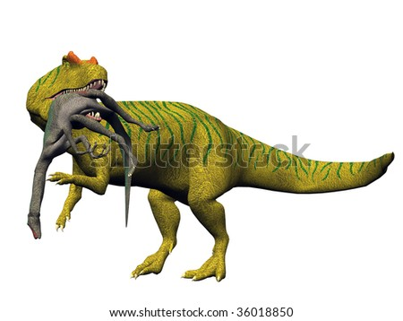 Allosaurus Dinosaur killing and eating a smaller Gallimimus.  Illustration on clean white background. - stock photo