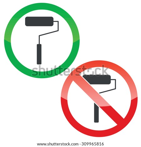 Allowed and forbidden signs with paint roller image, isolated on white - stock photo