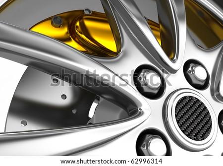 alloy rim and brake disc - 3d render - stock photo
