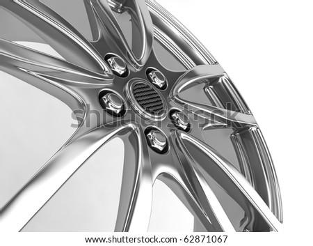 Alloy wheel on white background - 3d render - stock photo