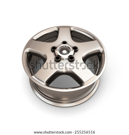 Alloy Wheel Rim isolated on white background. 3d render image.