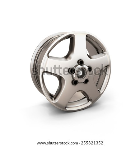 Alloy Wheel Rim on a white background. 3d render image.